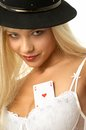 Ace of hearts pretty blond with in her bra Royalty Free Stock Photography