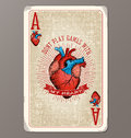Ace of Hearts vintage playing card with human heart illustration Royalty Free Stock Photo