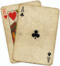 Ace King the Big slick poker hand. Royalty Free Stock Photos