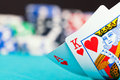 Ace and king with gambling chips Royalty Free Stock Photography