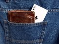 Ace in pocket picture card wallet close up Royalty Free Stock Photography