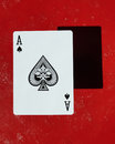 Ace of spades card on red Royalty Free Stock Photo