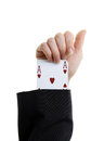 An ace up your sleeve on white background showing hearts Stock Photos