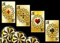 Aces and chips gambling games abstract background Stock Images