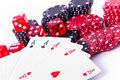 Aces, dice and poker chips Royalty Free Stock Images