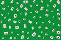 Aces of different suit playing cards on a green backdop billiard table background Royalty Free Stock Photos