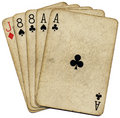 Aces and eights, the dead mans hand. Royalty Free Stock Photos