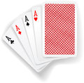 Aces poker playing cards game four in five card hand with back design Stock Photography