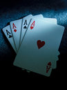 Aces set of winning playing cards including four Stock Image