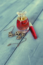 Acessory photo of perfume bottle necklace and mascara Royalty Free Stock Photos