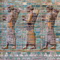 Achaemenid soldiers very famous and well known carved persian which used to decorate the walls of kingdom palace in susa of iran Stock Photography
