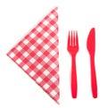 Acheckered刀叉餐具餐巾塑料 免版税库存图片