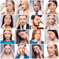 Aches and pains collage of diverse multi ethnic people suffering from different Royalty Free Stock Photography