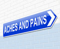 Aches and pains concept illustration depicting a sign with an Royalty Free Stock Image