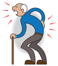 Aches and pains elderly man with cane crying out in pain from twinge in his back Royalty Free Stock Photo