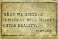 Achieve plutarch what we inwardly ancient greek philosopher quote printed on grunge vintage cardboard Stock Photos