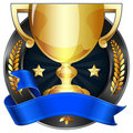 Achievement Award Trophy in Gold with Blue Ribbon Royalty Free Stock Photo