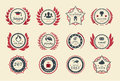Achievement badges for games or applications two shades of color Stock Photo
