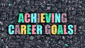 Achieving career goals concept with doodle design icons multicolor inscription on dark brick wall in modern style Royalty Free Stock Photos
