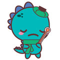 An aching dinosaur with a thermometer. Stickers