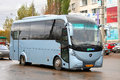 Achleitner midiro ufa russia october cyan interurban coach at the city street Stock Image