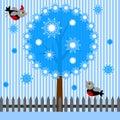 Achtergrond met boom en vogels Stock Fotografie