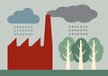 Acid rain a vector illustration of factory pollution from a chimney mixing with and falling on trees Royalty Free Stock Images