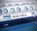 Acid reflux concept illustration depicting a screenshot of an internet search with an Royalty Free Stock Photography