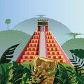 Acient mayan pyramid in jungle Stock Photography