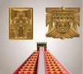Acient mayan symbols pyramide and totems Royalty Free Stock Photos