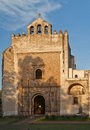 Acolman convent facade the of the at sunset with its three bells and arches mexico Stock Images