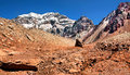 Aconcagua the highest mountain in south america panorama of as seen from side mendoza argentina Stock Image
