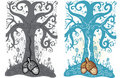 Acorn and tree of life tattoo style illustration Stock Images