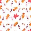 Acorns, foliage and berries seamless watercolor raster pattern