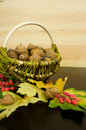 Acorns on a wooden table in the background basket with acorns Royalty Free Stock Photo