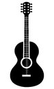 Acoustic guitar icon in black and white colors.