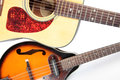 Acoustic guitar and mandolin color photo of a in country style Stock Photography