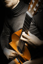 Acoustic guitar player guitarist Royalty Free Stock Photos