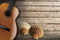 Acoustic guitar on wooden boardwalk brown with two sea shells beach floor over summer sand Stock Photography