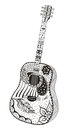 Acoustic guitar. Zentangle stylized