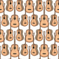 Acoustic Guitars colorful. Seamless texture Royalty Free Stock Photo