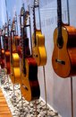 Acoustic guitars display of at an exhibition Stock Photo