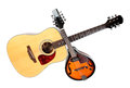 Acoustic mandolin and guitar color photo of a in country style Royalty Free Stock Image