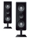Acoustic speakers with three speakers for sound Royalty Free Stock Image