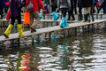 Acqua alta venice boots and other footwear used in high water in veneto italy Stock Image