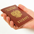 Acquisition of russian citizenship and handing passports Stock Image