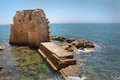 Acre wall and sea port view of the ruined at Royalty Free Stock Photography