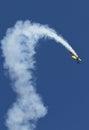 Acrobatic airplane plane tricolor at air show bias Stock Photo