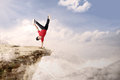 Acrobatic competition cartwheel on mountain Royalty Free Stock Photo