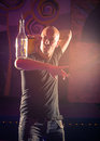 Acrobatic show barman professional bartender at night club performing exhibition move concept of freestyle american bartending in Stock Photo